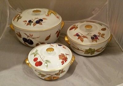 Set of 3 Royal Worcester Evesham Gold Covered Casserole Dishes