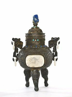 Chinese Silver Censer White Jade Carved Plaque Lapis Lazuli Turquoise Coral 914g