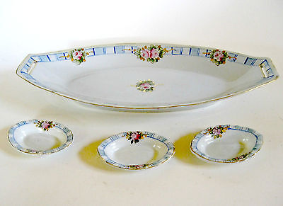 Nippon Hand Painted Pink Roses Gold Accents on Porcelain Celery Dish And 3 Salts