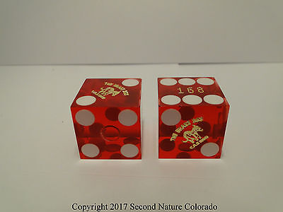 Pair of Red Gently Cancelled Craps Dice Brass Ass Casino, Cripple Creek CO #168