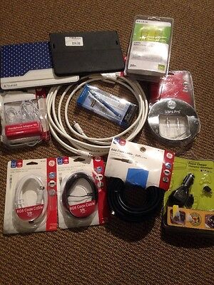 Lot of 11 Electronic Accessories New and Used Cables, Cases, Adapters Wholesale