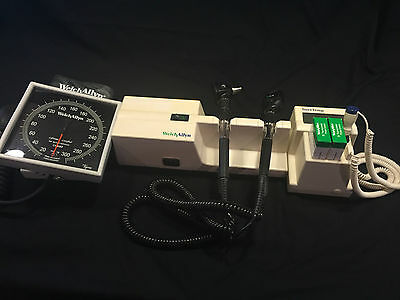 Welch Allyn Integrated Wall System Otoscope/Ophthalmoscope/Thermometer & EXTRAS!