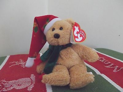 Jingle Beanies TY 2003 Holiday Teddy bear Red Holly Christmas Hat