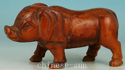 lovely Chinese Old Bone Hand Carving pig Collect Statue In Good Condition