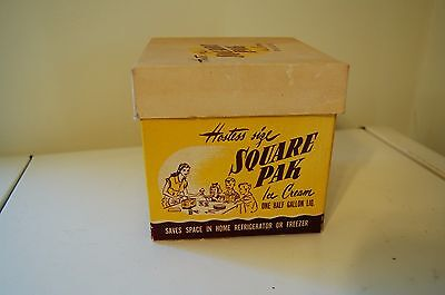 "Vintage box SQUARE PAK ICE CREAM Hostess size Half Gallon - 5"" Square"