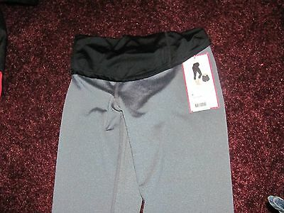 NWT BE MATERNITY ACTIVE Crossover Over Belly Gray Black Yoga Capri Pants XS SALE