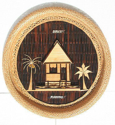Vtg Hand Craft Phillipines Weaved Bamboo Wall Plaque Hut Coconut Palm Trees 13""