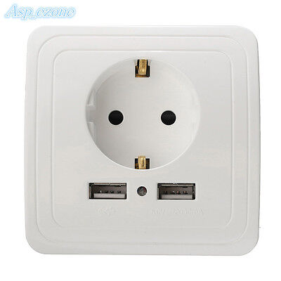 5V 2A EU Wall Socket Switch Dual USB Charger Socket Adapter Power Outlet White