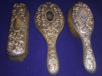 Antique Victorian English Solid Sterling Silver Ornate Brush & Mirror Vanity Set