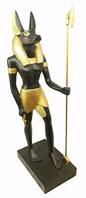 "Large 16""h Ancient Egyptian God Of Mummification Anubis Holding Staff Figurine"