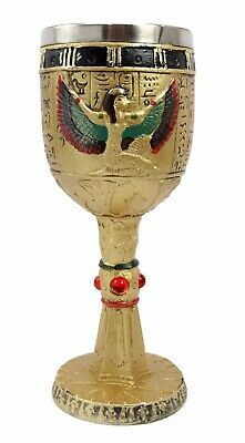 """Egift 7.25""""h Ancient Egyptian Winged Goddess Isis 6oz Wine Goblet Chalice Cup"""