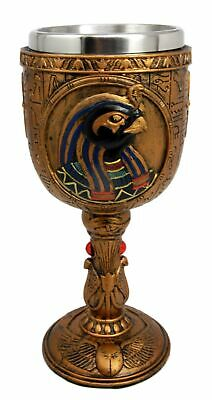 "6.75""h Egift Ancient Egyptian Bird God Horus 6oz Resin Wine Goblet Chalice Cup"