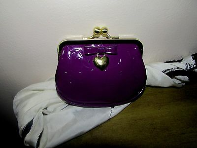 Coach Leather Change Purse w/Coach Logo & Gold Tone Heart Trimmed w/Leather Bow