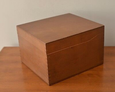 Vintage Wood Wooden 5x8 Index File Card Box by PSI Napa CA Dove Tailed Hinged