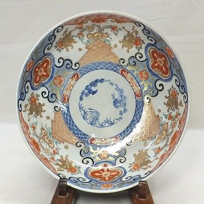 G454: Japanese OLD IMARI beautiful colored porcelain bowl with good painting