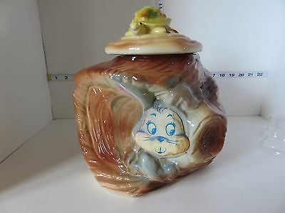 Vintage American Bisque Tortoise And The Hare Cookie Jar Flasher Flicker