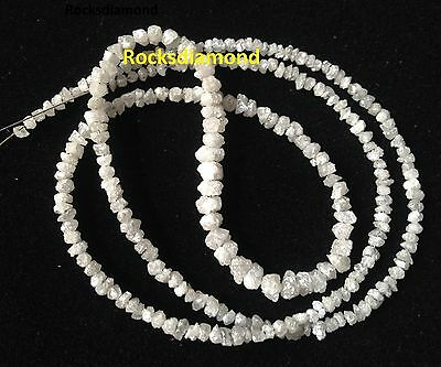 "20.03 ct Natural White Color Loose Rough Diamond Beads 16"" Strand .Silver Close"