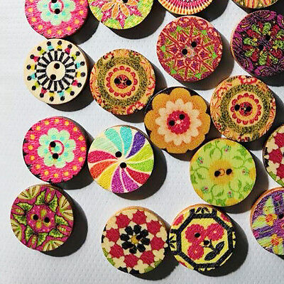 100x Mixed Vintage Flowers Wood Buttons Scrapbooking Sewing Craft 20mm Beauty