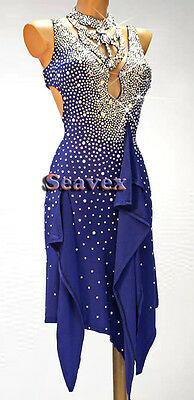 Women Ballroom Rhythm Salsa Rumba Latin Dance Dress US 8 UK 10 Blue Sliver