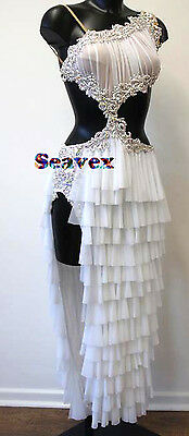 Ballroom Rhythm Salsa Rumba Latin Cha Dance Dress US 6 UK 8 White Beads