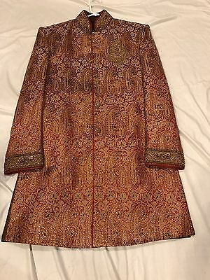 Men's Sherwani in Red and Gold