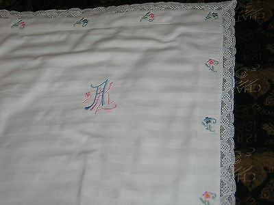 "3-Antique c1890s EURO SHAMS PillowCases~Damask Lace-Embroidery Monogram ""AK"""