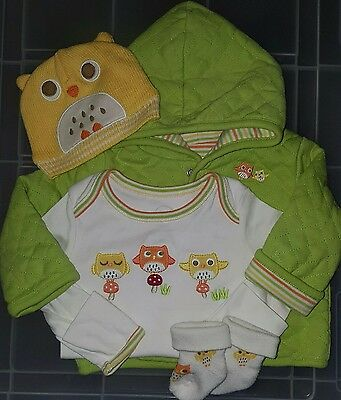 Infants baby boy girl Gymboree Brand New Baby owl jacket hat size 0-3 months