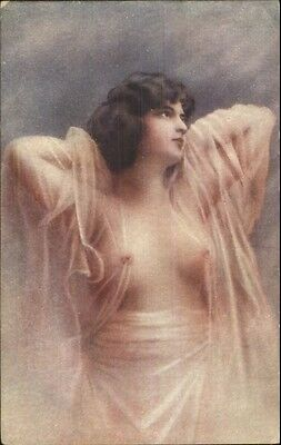 Beautiful Woman Nude Sheer Materieal c1910 Unsigned Postcard