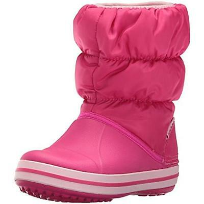 Crocs 3467 Girls Winter Puff Pink Quilted Snow Boots Shoes 2 Medium (B,M) BHFO
