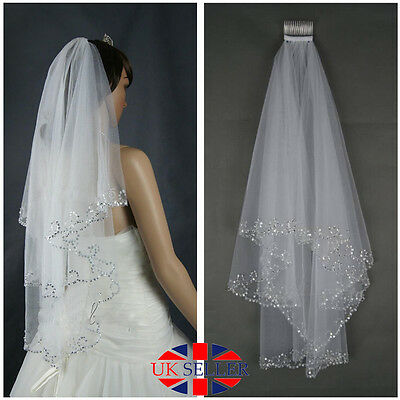 White 2T Beaded Edge Sequins Wedding Bridal Elbow Veil With Comb UK Seller