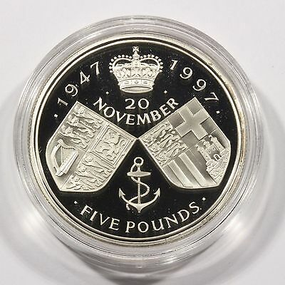 Nice 1997 Great Britain 5 Pound Silver Proof Coin Golden Wedding