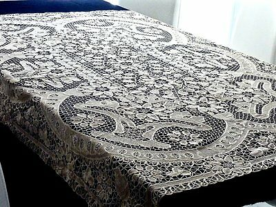 Magnificent Vintage Italian Point De Venise Lace Handcrafted Tablecloth