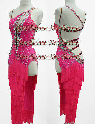 Women Ballroom Smooth Latin Rhythm Salsa Dance Dress US 6 UK 8 Two Pink Fringe