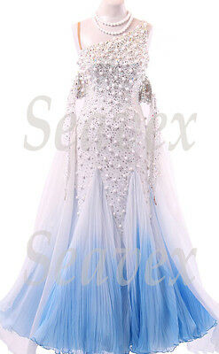 Women Smooth Ballroom Waltz Tango Standard Dance Dress US 6 UK 8 White Blue Bead