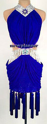 Women Ballroom Smooth Latin Rhythm Salsa Dance Dress US 4 UK 6 Two Blue Fringe