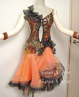 Women Rhythm Salsa Rumba Cha Samba Latin Dance Dress US 10 UK 12 Orange Black