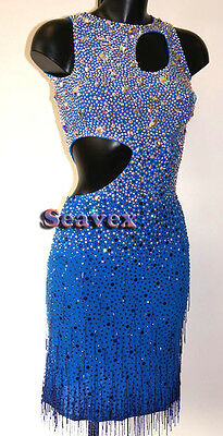 Ballroom Rhythm Salsa Rumba Latin Cha Dance Dress US 8 UK 10 Two Blue Beads
