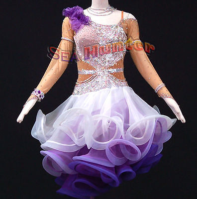 Women Ballroom Latin Cha Rhythm Salsa Dance Dress US 6 UK 8 Flesh White Purple