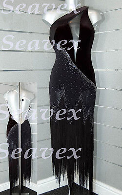 Women Ballroom Latin Rhythm Salsa Dance Dress US 10 UK 12 Black Sliver Color