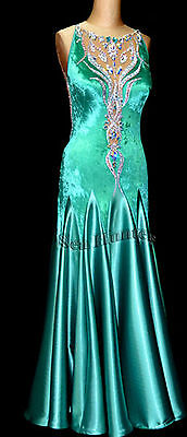 Women Smooth Ballroom Waltz Tango Dance Dress US 6 UK 8 Flesh Green