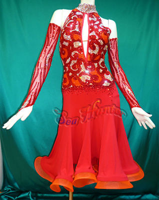 Women Ballroom Rhythm Salsa Rumba Dance Dress US 2 UK 4 Two Red Sliver