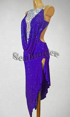 Women Ballroom Rhythm Salsa Rumba Latin Dance Dress US 8 UK 10 Purple Sliver