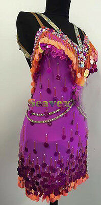 Women Ballroom Salsa Rumba Latin Dance Dress US 8 UK 10 Orange Purple Sequins