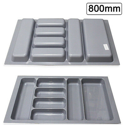 800mm Grey Quality Plastic Cutlery Trays Kitchen Drawers Blum Tandembox Inserts