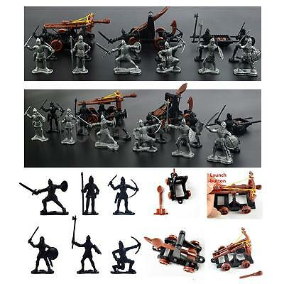 14 pcs Knights Medieval Toy Catapult Crossbow Soldiers Figures Playset Plastic