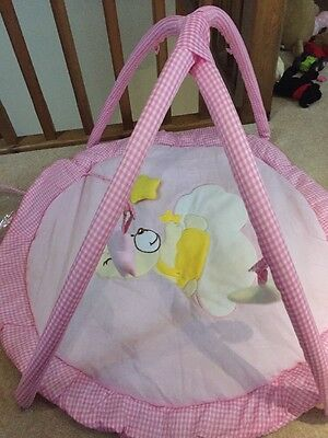 New Pink Gingham Travel Baby Gym With Mat