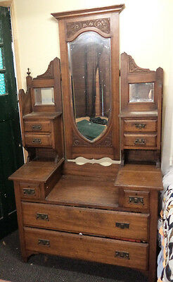 Antique Dressing Table With Mirrors