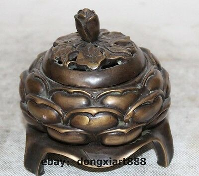 chinese buddhism temple pure bronze copper lotus statue incense burner Censer