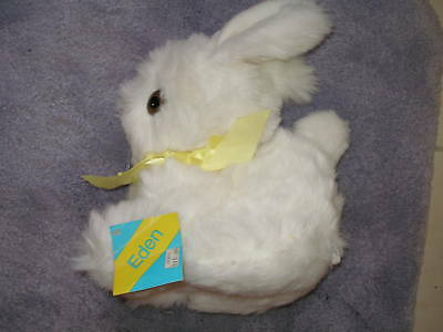 "Vintage New 1980 Eden Easter Bunny Rabbit White Soft Plush 11"" Tall Mwt"