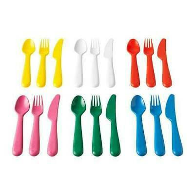 Ikea Kalas Children's Kids Plastic Cutlery 18 Piece Set x6 Forks Knives + Spoons